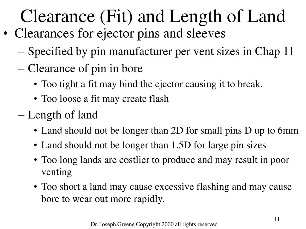 Clearance (Fit) and Length of Land