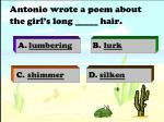 antonio wrote a poem about the girl s long hair