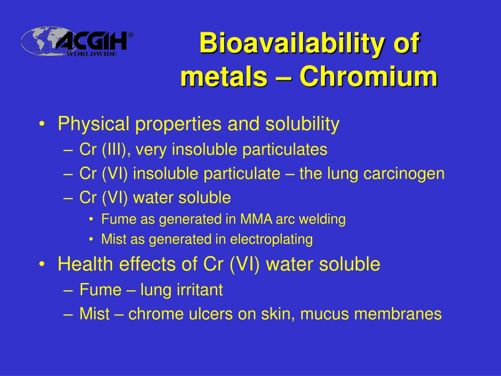 Bioavailability of metals – Chromium