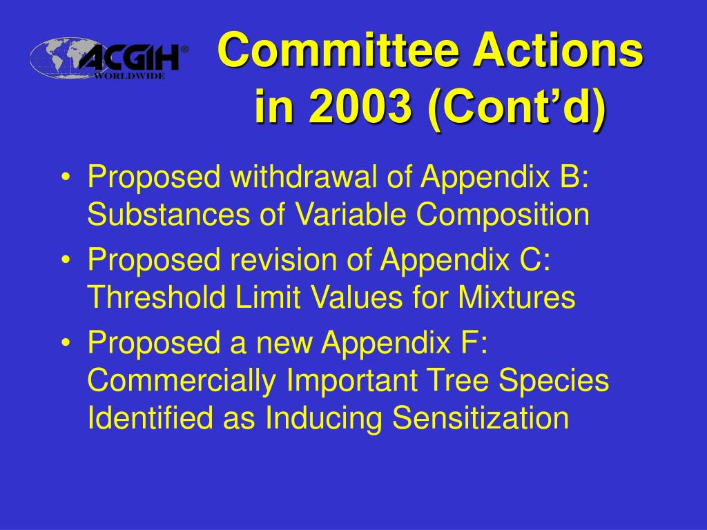 Committee Actions in 2003 (Cont'd)