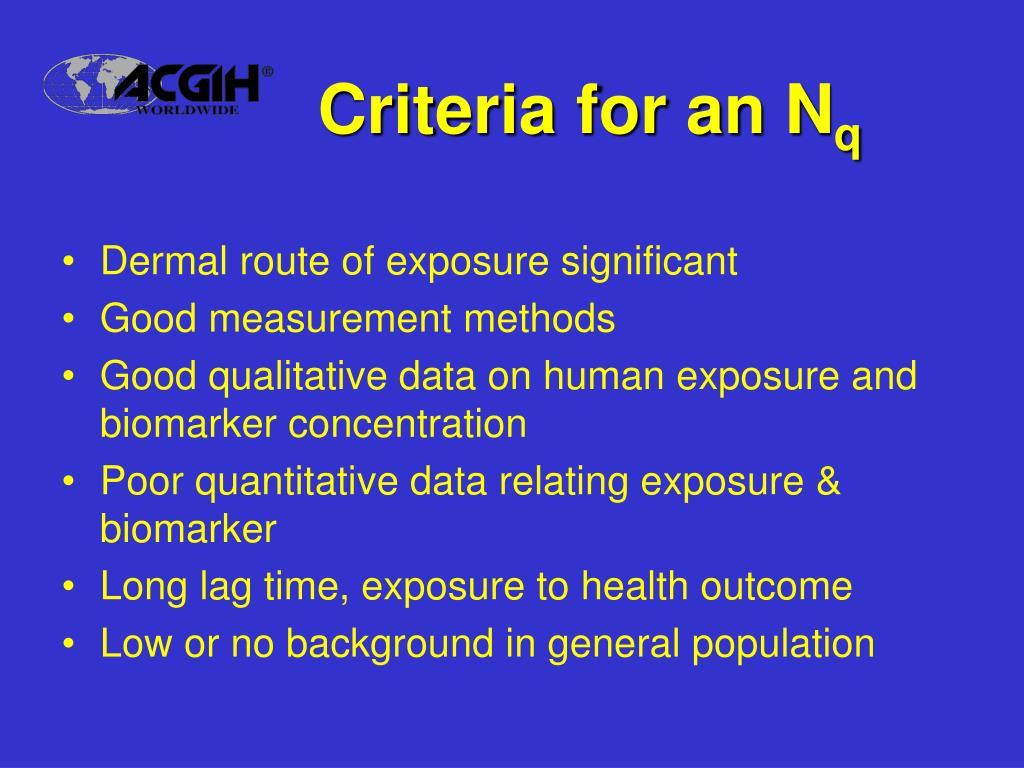 Criteria for an N