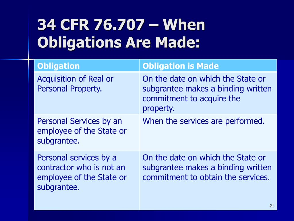 34 CFR 76.707 – When Obligations Are Made: