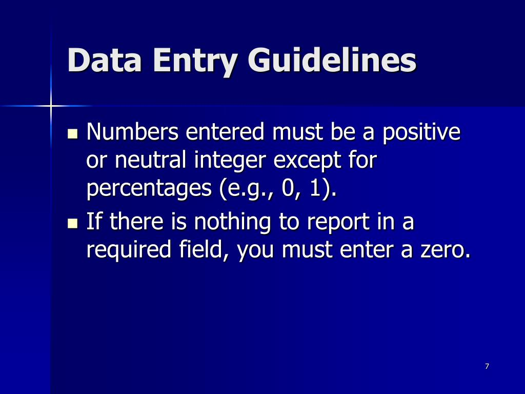 Data Entry Guidelines