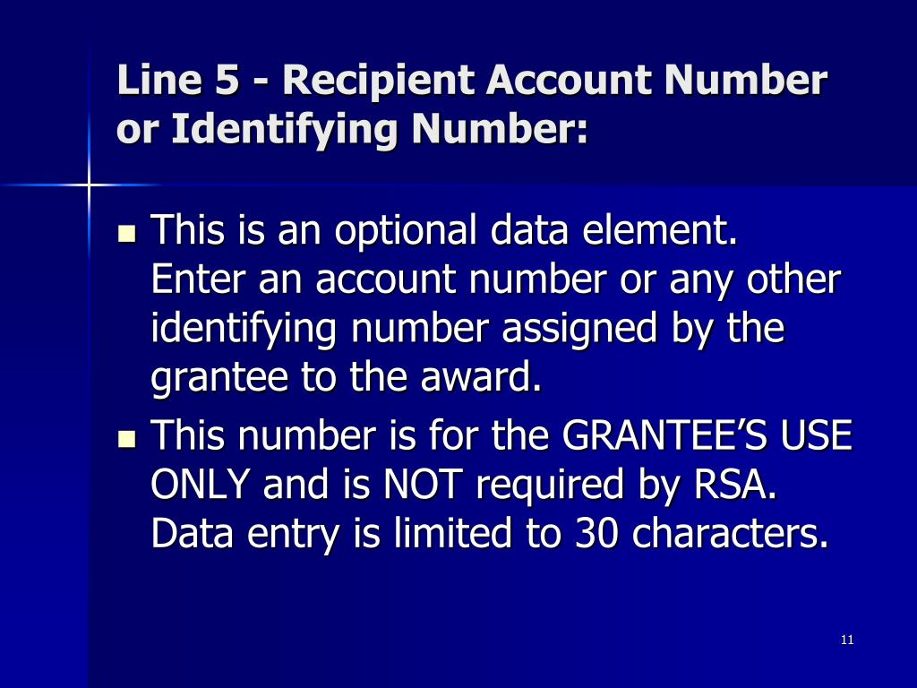 Line 5 - Recipient Account Number or Identifying Number: