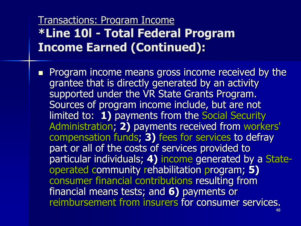 Transactions: Program Income