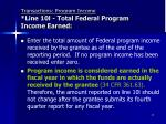 transactions program income line 10l total federal program income earned