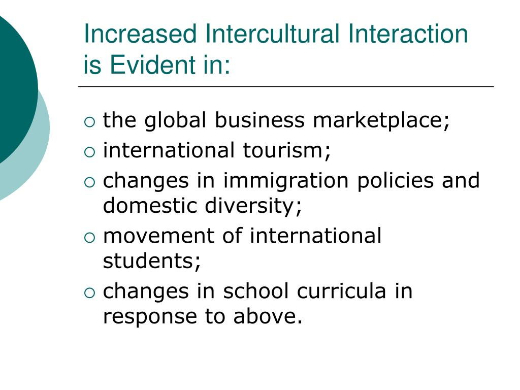 Increased Intercultural Interaction is Evident in: