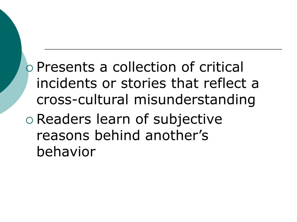 Presents a collection of critical incidents or stories that reflect a cross-cultural misunderstanding