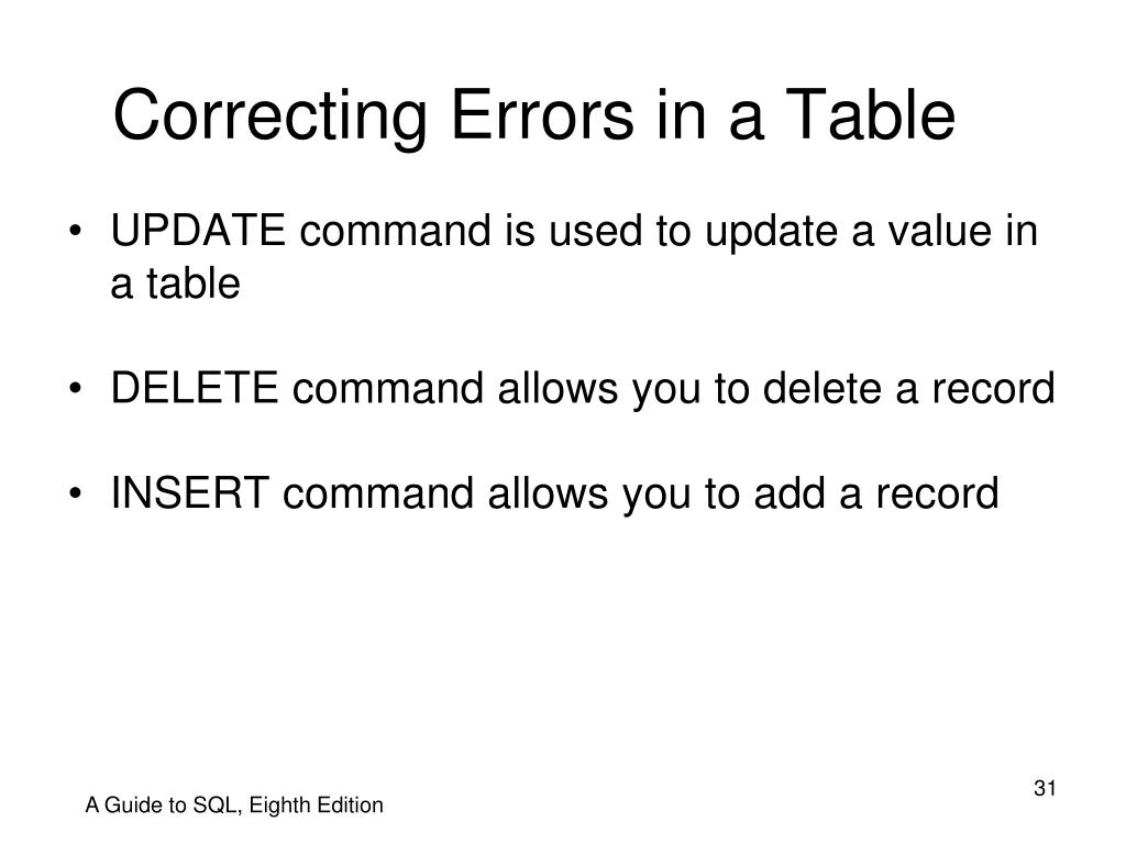 Correcting Errors in a Table