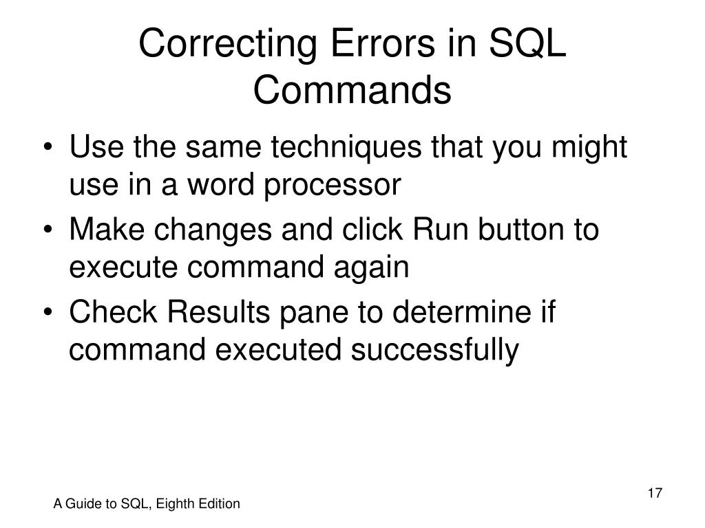 Correcting Errors in SQL Commands
