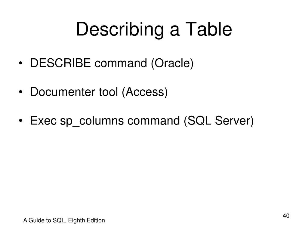 Describing a Table