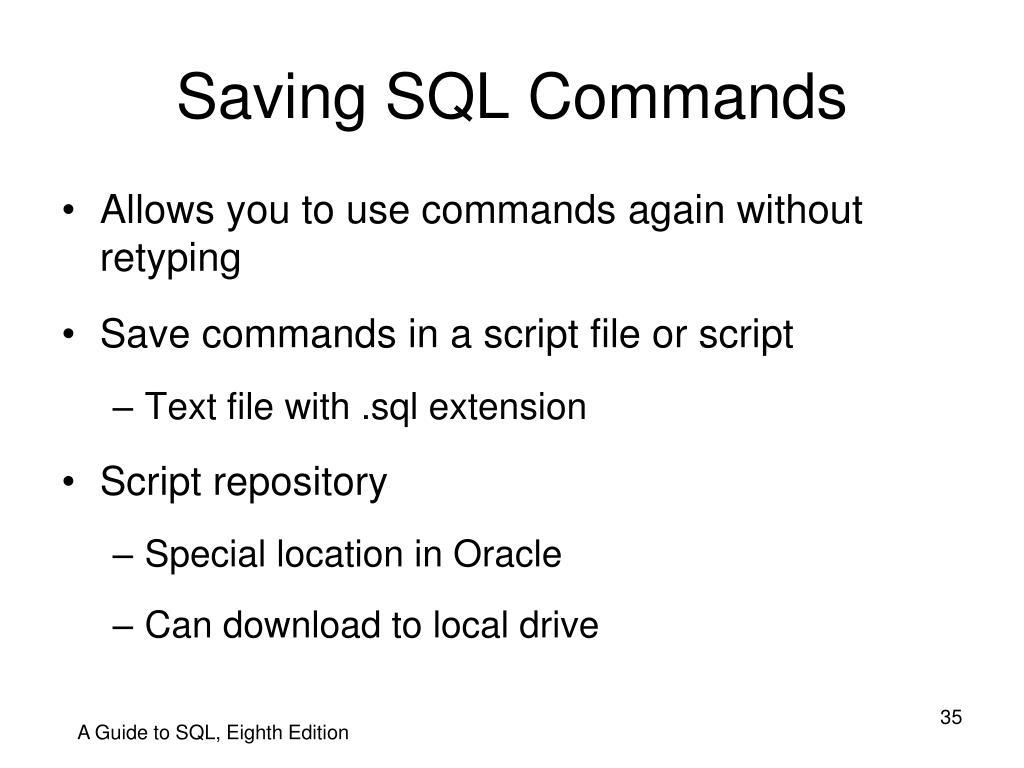 Saving SQL Commands