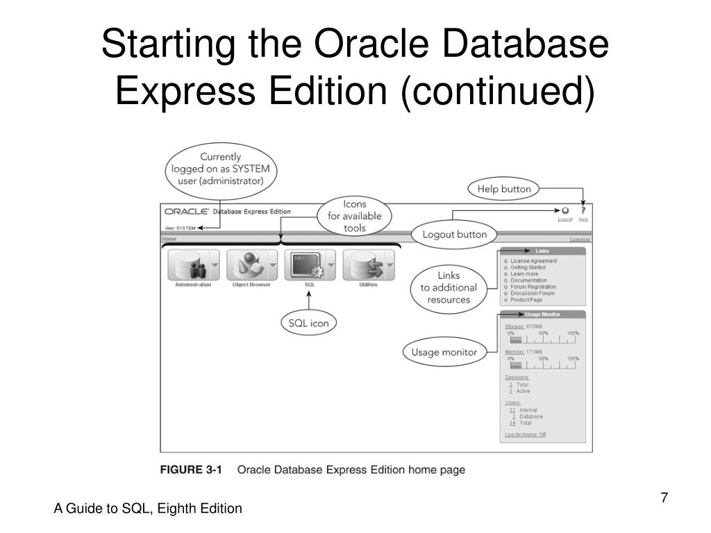 Starting the Oracle Database Express Edition (continued)