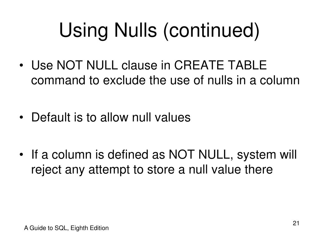 Using Nulls (continued)