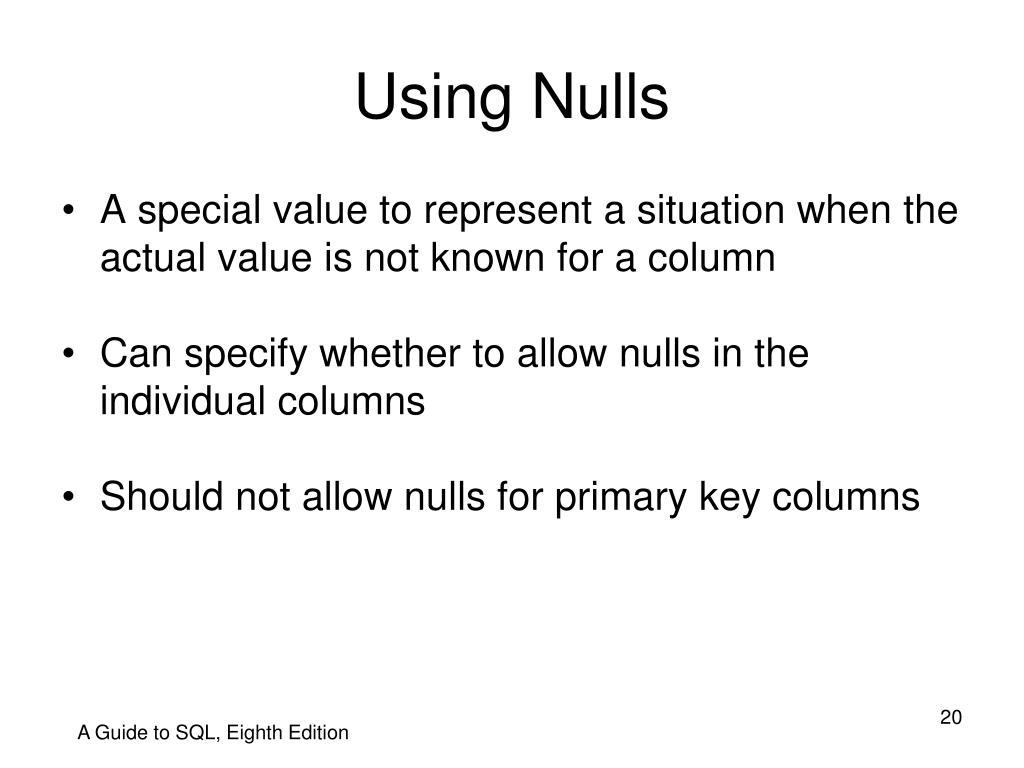 Using Nulls
