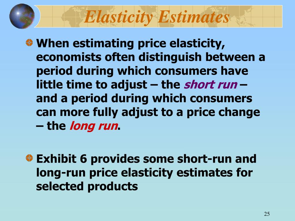 Elasticity Estimates