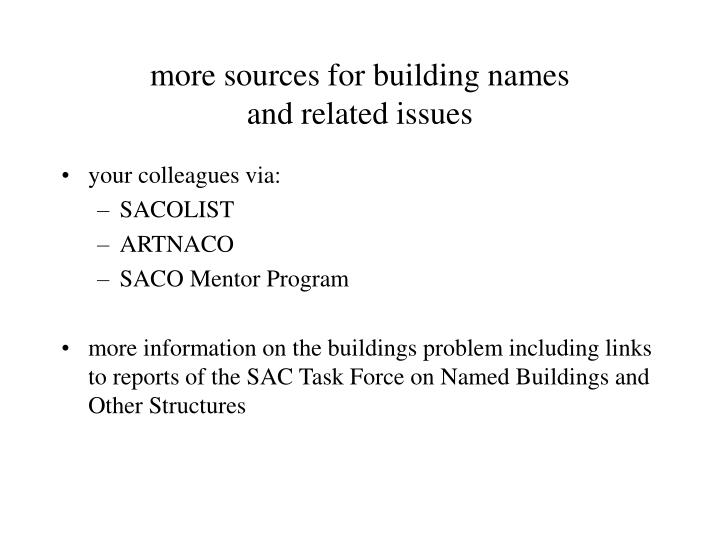 more sources for building names