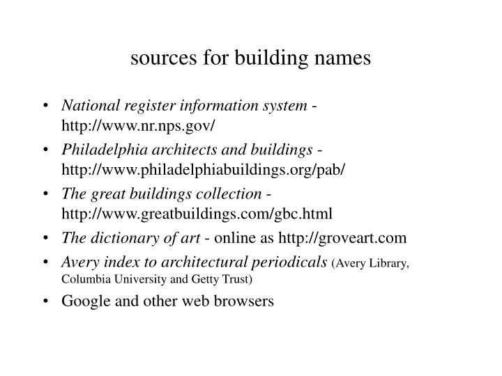 sources for building names