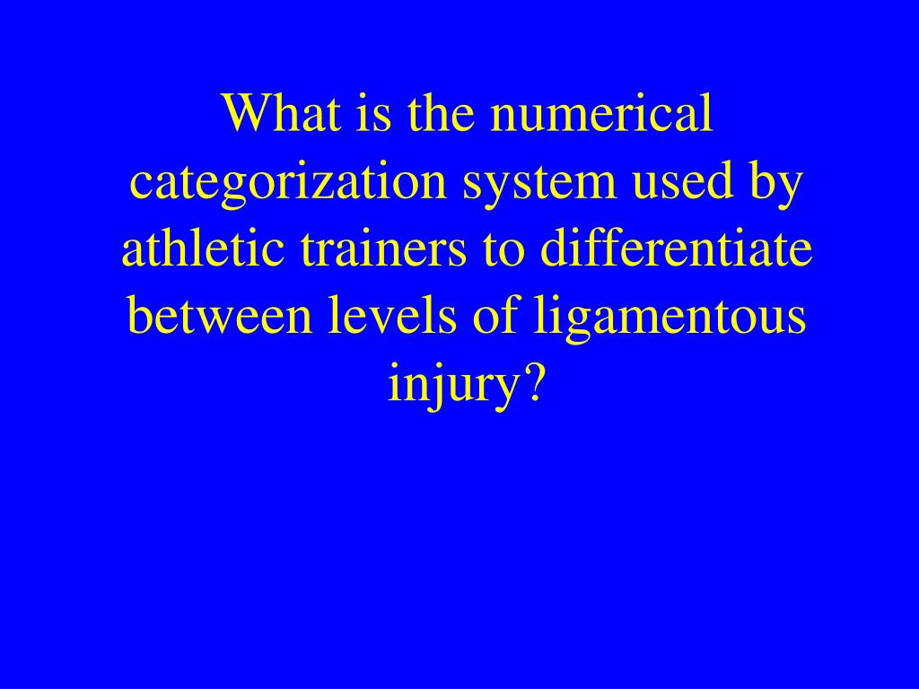 What is the numerical categorization system used by athletic trainers to differentiate between levels of ligamentous injury?