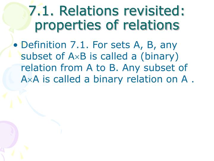 7 1 relations revisited properties of relations