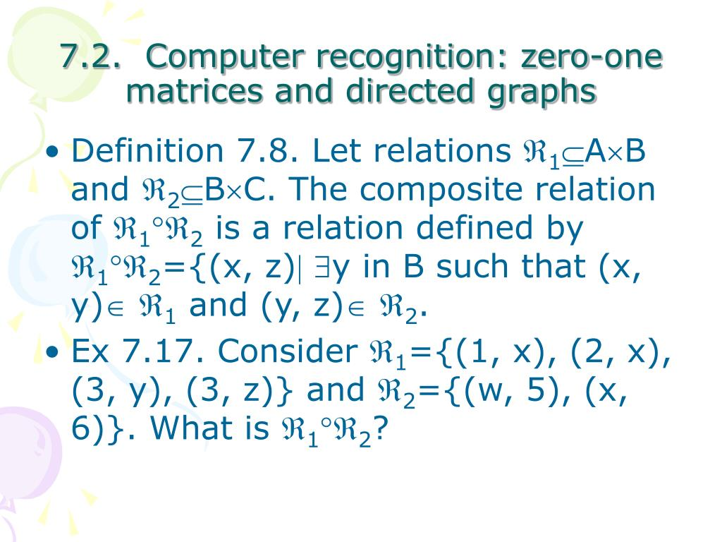 7.2.  Computer recognition: zero-one matrices and directed graphs