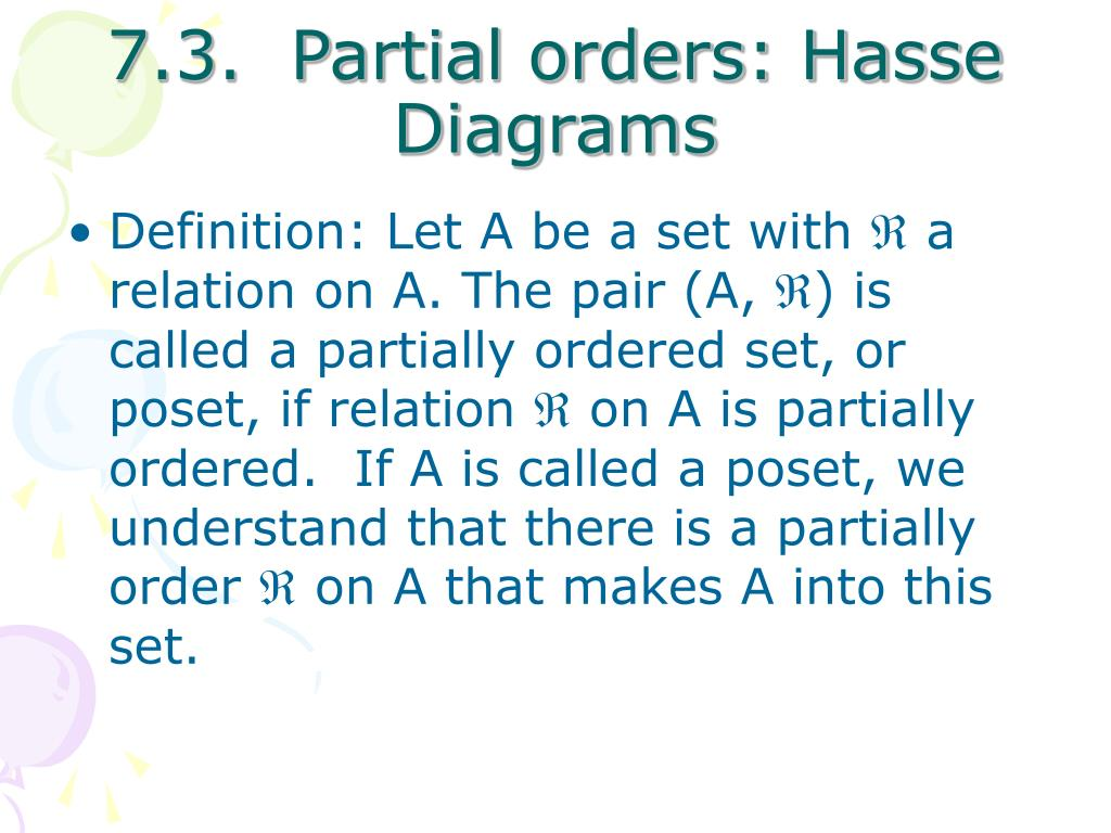 7.3.  Partial orders: Hasse Diagrams
