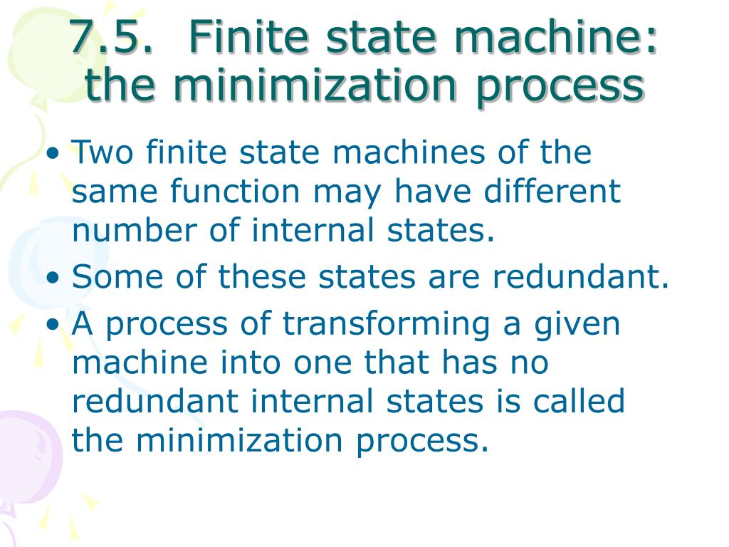 7.5.  Finite state machine: the minimization process