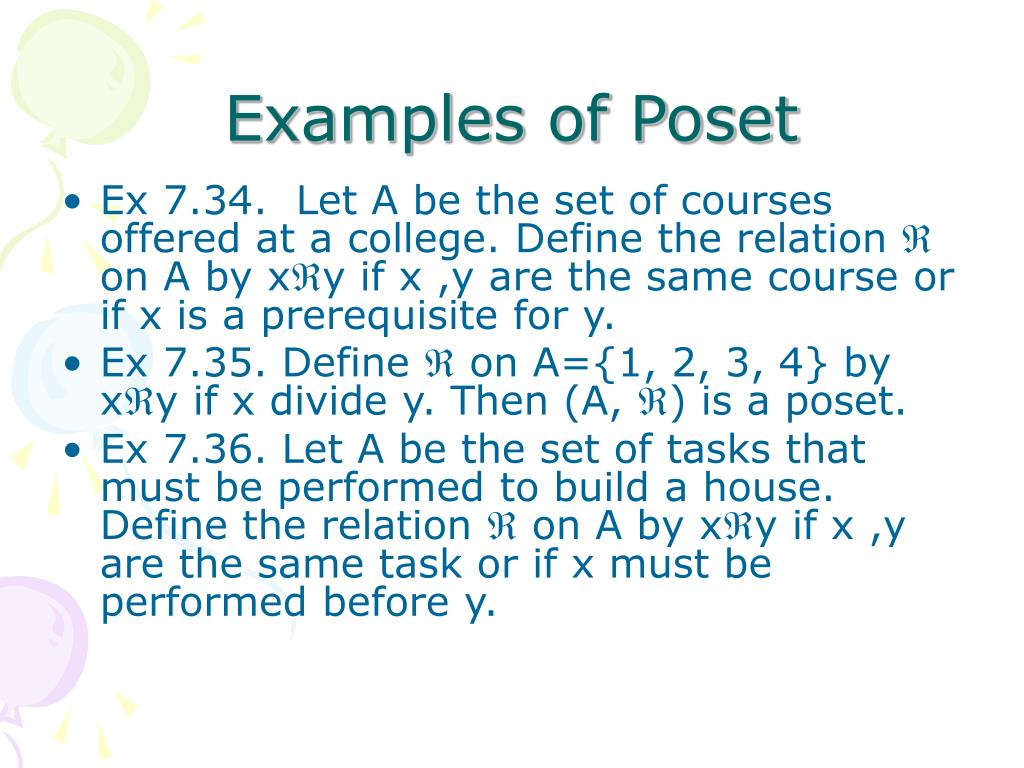 Examples of Poset