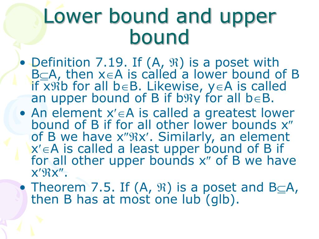 Lower bound and upper bound