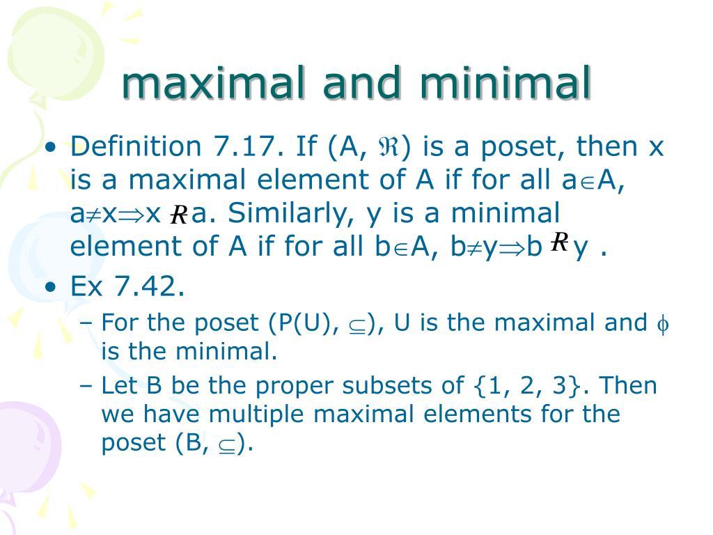 maximal and minimal