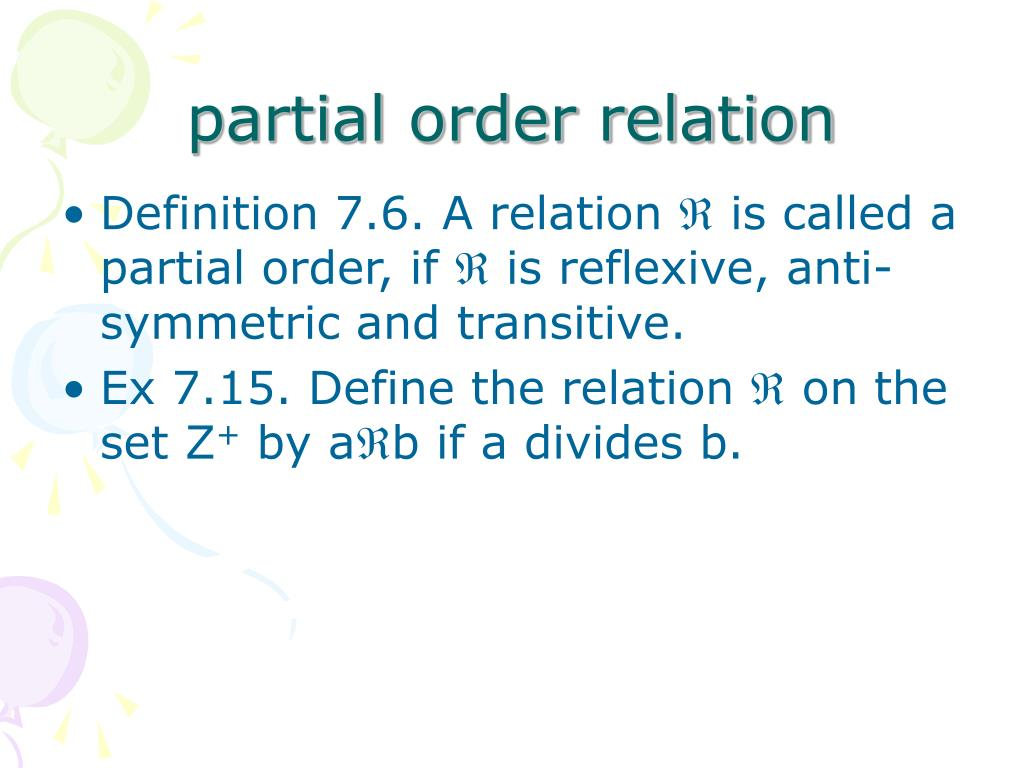 partial order relation