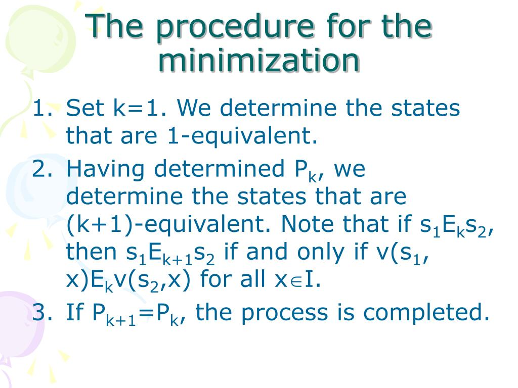 The procedure for the minimization