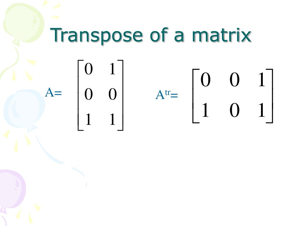 Transpose of a matrix