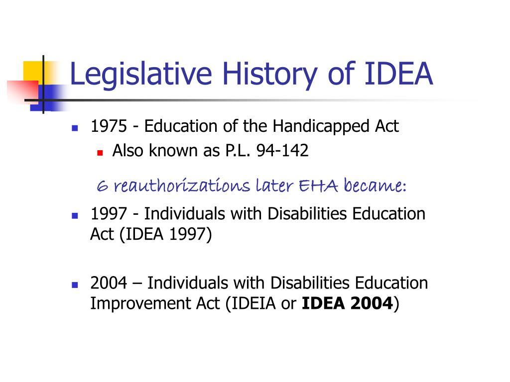 Legislative History of IDEA