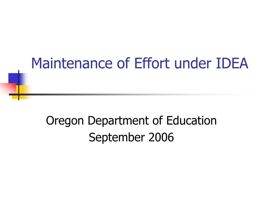 Maintenance of Effort under IDEA