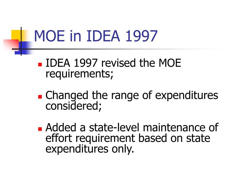 MOE in IDEA 1997