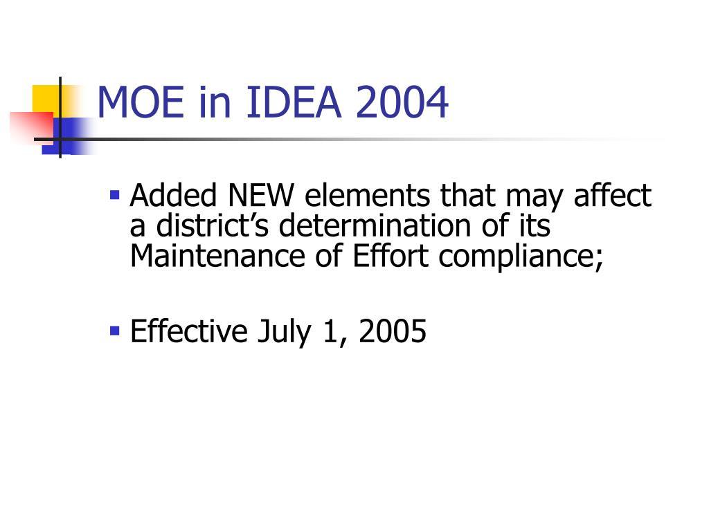 MOE in IDEA 2004