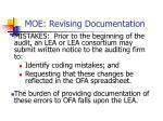 moe revising documentation