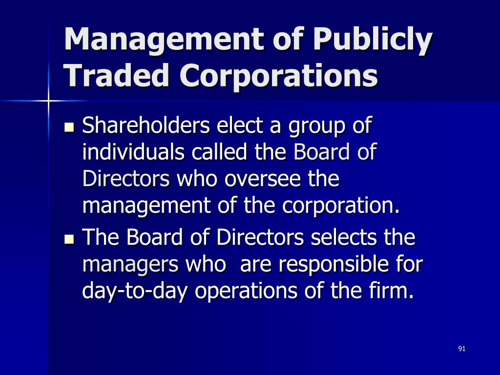 Management of Publicly Traded Corporations