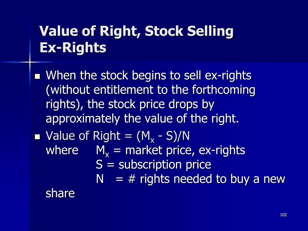 Value of Right, Stock Selling Ex-Rights