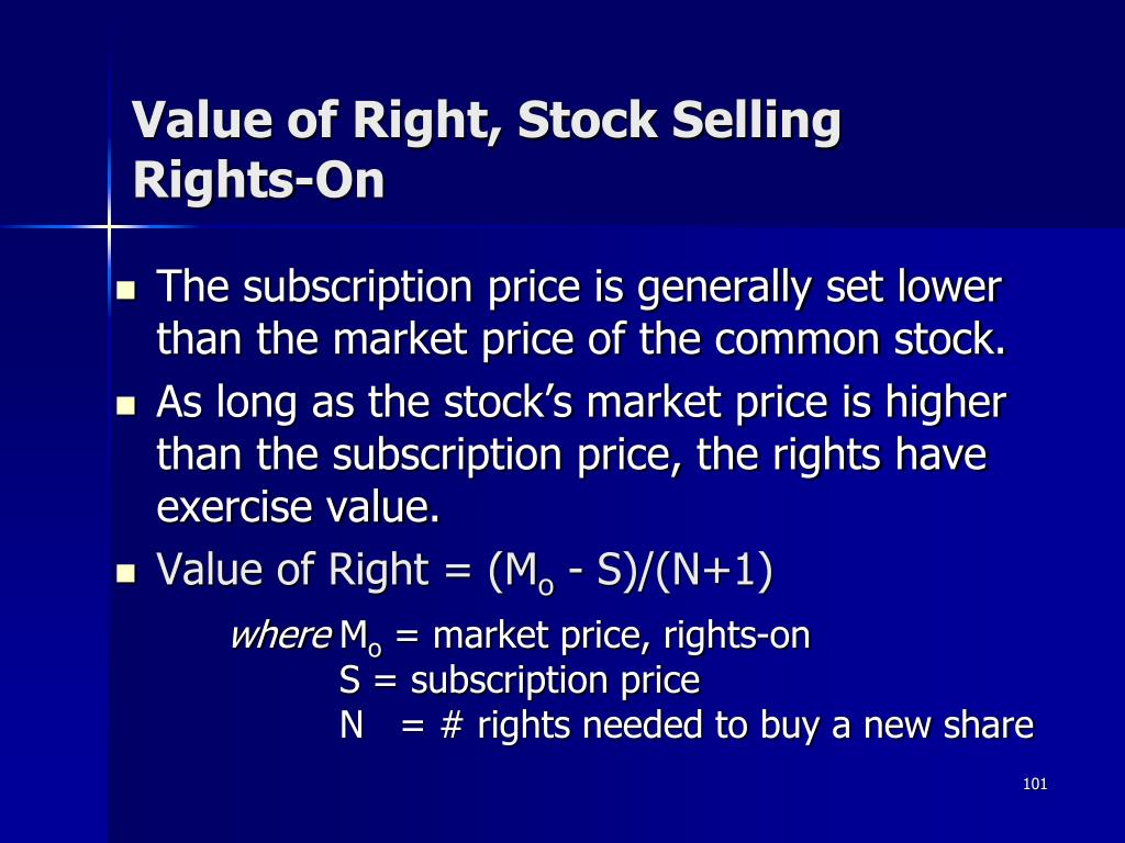 Value of Right, Stock Selling Rights-On