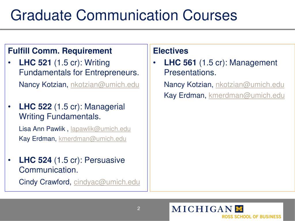Graduate Communication Courses