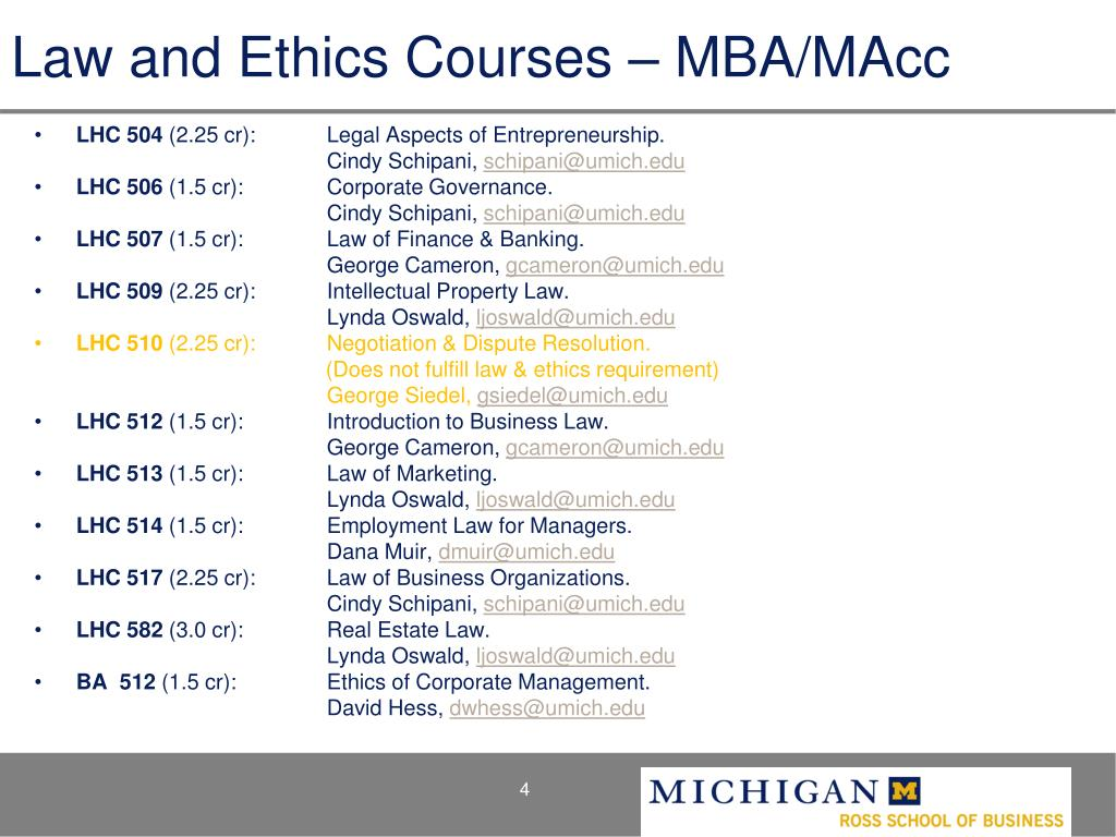Law and Ethics Courses – MBA/MAcc