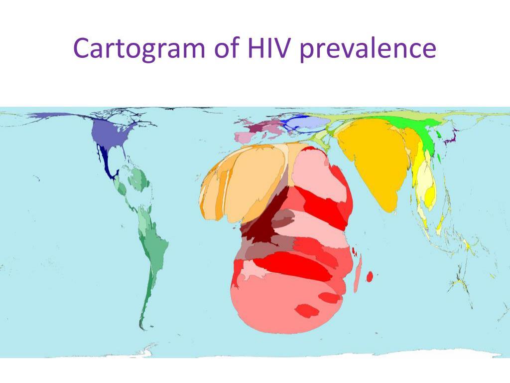 Cartogram of HIV prevalence
