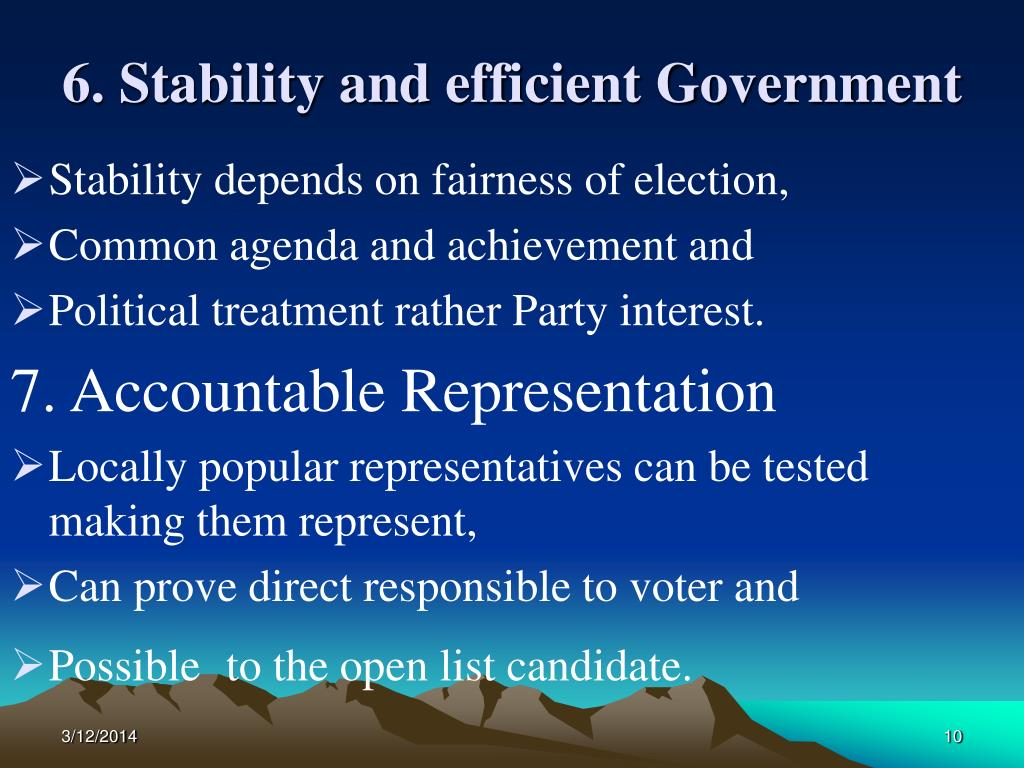 6. Stability and efficient Government