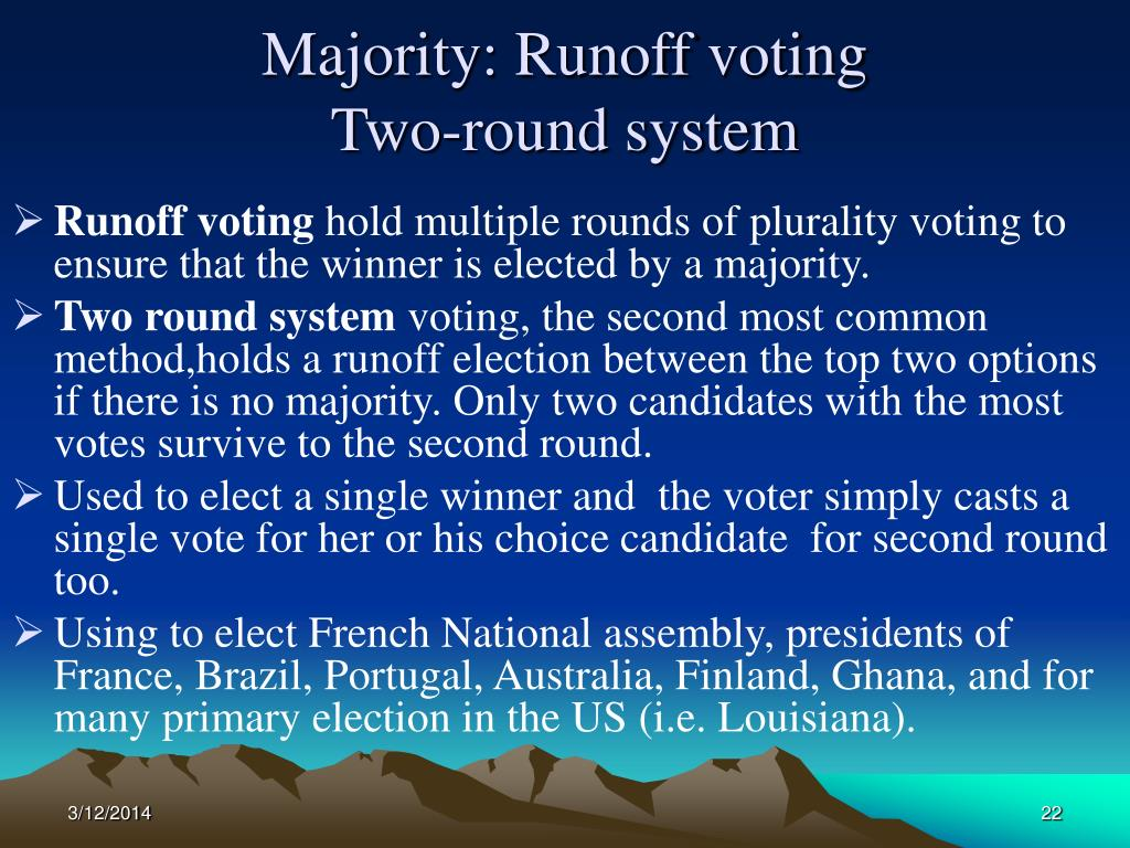 Majority: Runoff voting