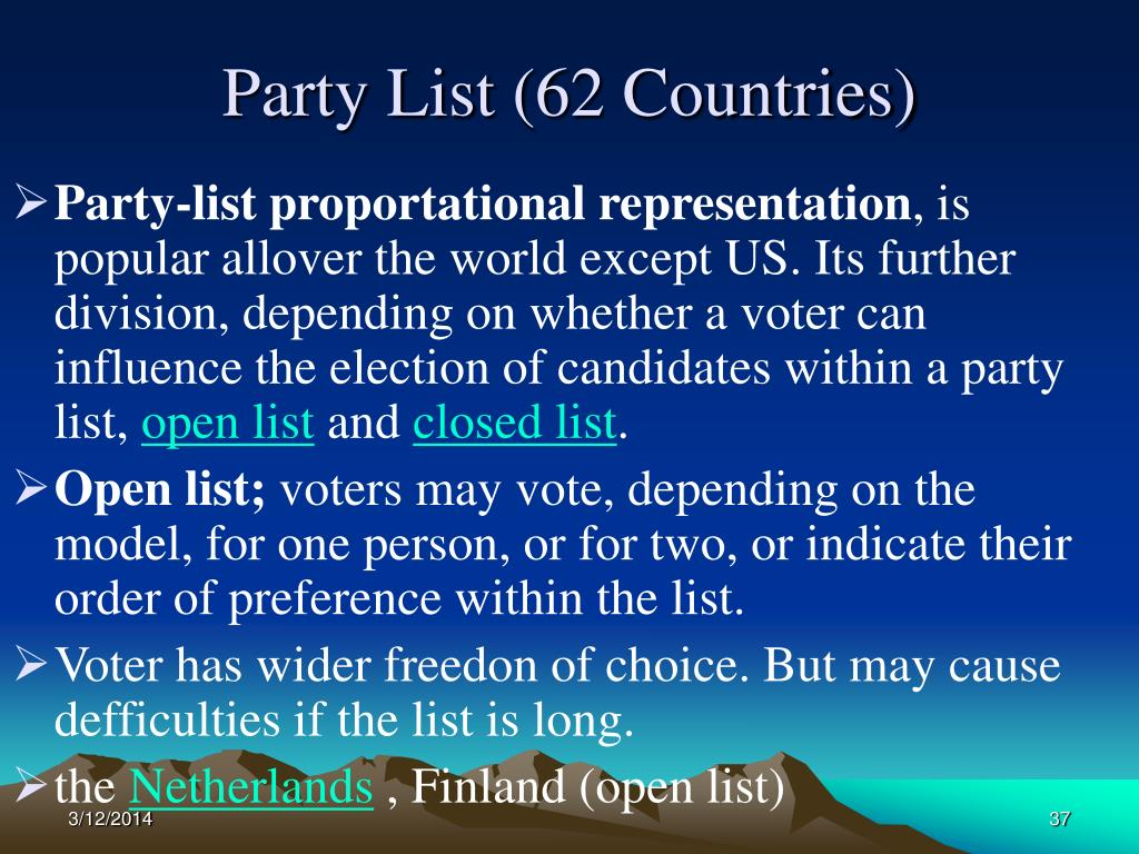 Party List (62 Countries)