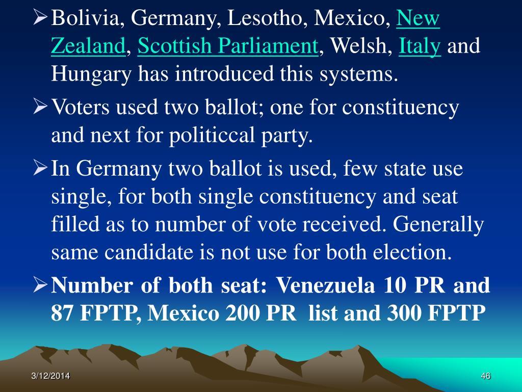 Bolivia, Germany, Lesotho, Mexico,