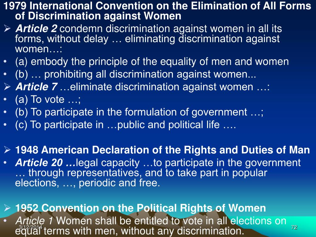 1979 International Convention on the Elimination of All Forms of Discrimination against Women