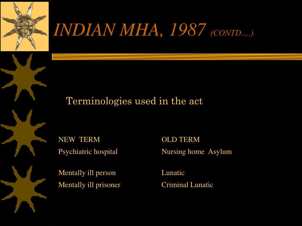 INDIAN MHA, 1987